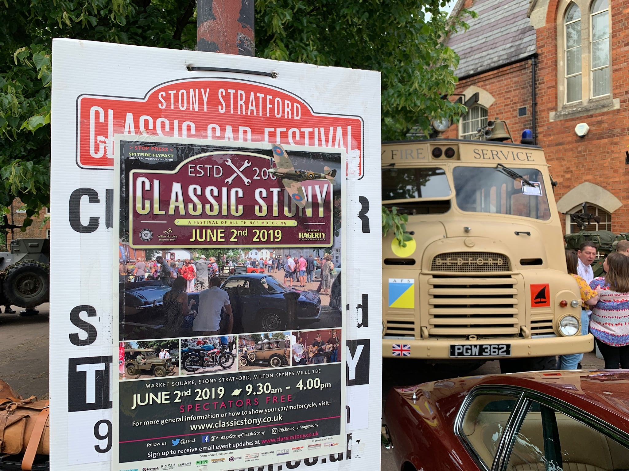 Stony Stratford Classic Car Festival poster and fire engine